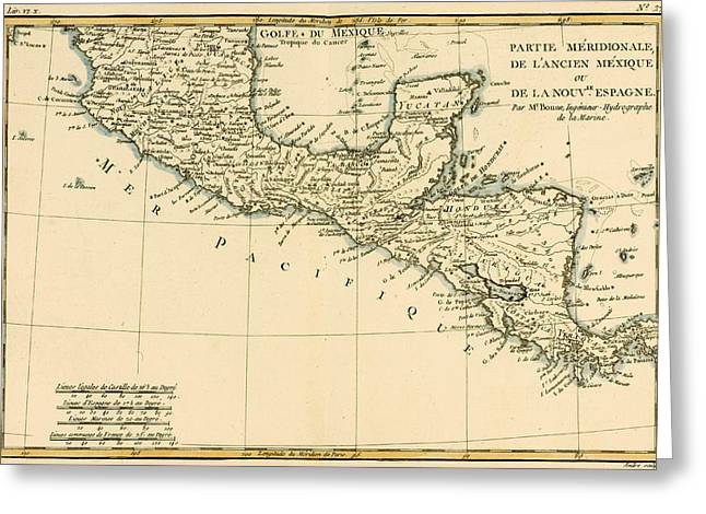 Ocean Shore Drawings Greeting Cards - Antique Map of Southern Mexico Greeting Card by Guillaume Raynal