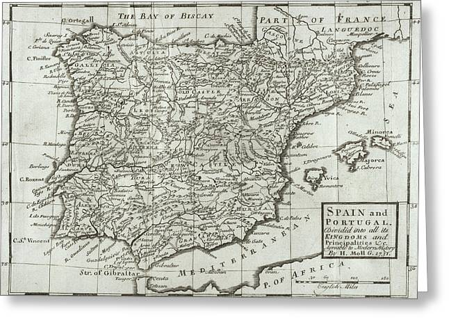 Atlas Greeting Cards - Antique Map of Spain and Portugal Greeting Card by Hermann Moll