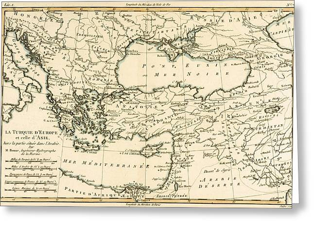 Geography Drawings Greeting Cards - Antique Map of Turkey Greeting Card by Guillaume Raynal