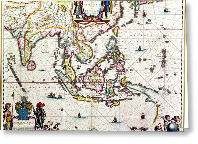 Border Drawings Greeting Cards - Antique map showing Southeast Asia and The East Indies Greeting Card by Willem Blaeu