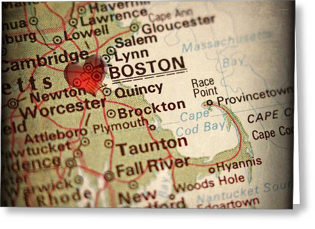 Elite Image Photography By Chad Mcdermott Greeting Cards - Antique Map with a Heart over the city of Boston in Massachusett Greeting Card by ELITE IMAGE photography By Chad McDermott