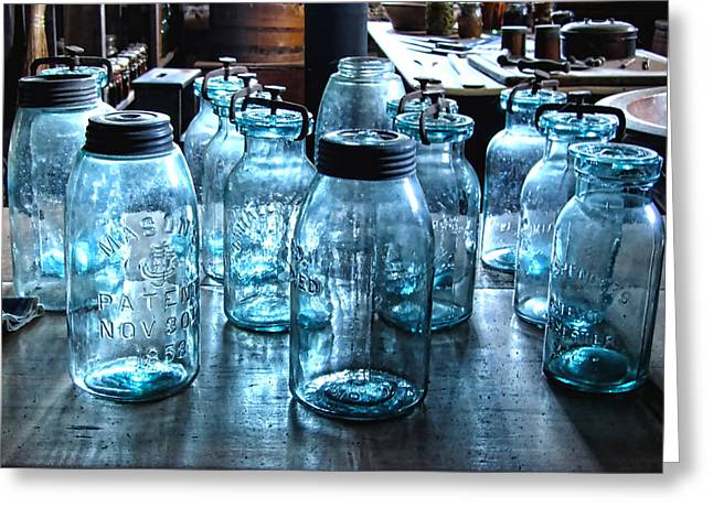 Antique Mason Jars Greeting Card by Mark Sellers
