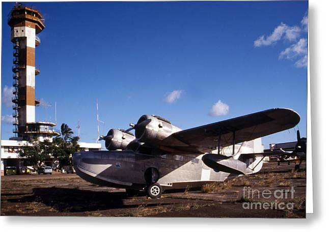 Traffic Control Greeting Cards - Antique Navy Seaplane Parked In Front Greeting Card by Michael Wood