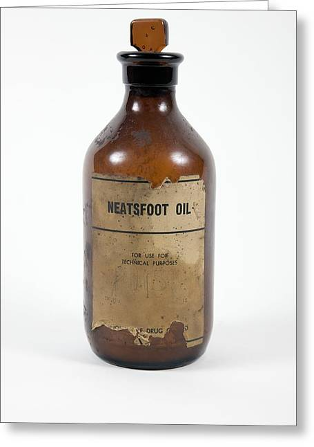 Glass Bottle Greeting Cards - Antique Neatsfoot Oil Bottle Greeting Card by Gregory Davies, Medinet Photographics