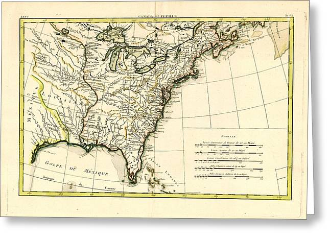 Antique Se United States Map Greeting Card by Unknown