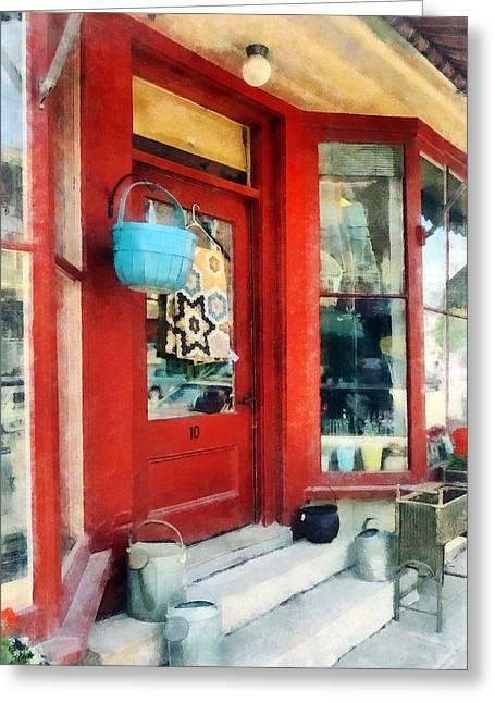 Bushel Basket Greeting Cards - Antique Shop Waterbury VT Greeting Card by Susan Savad