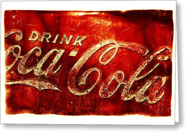 Coca-cola Sign Greeting Cards - Antique soda cooler 2A Greeting Card by Stephen Anderson