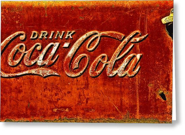 Coca-cola Sign Greeting Cards - Antique soda cooler 3 Greeting Card by Stephen Anderson
