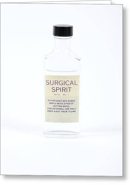 Glass Bottle Greeting Cards - Antique Surgical Spirit Bottle Greeting Card by Gregory Davies, Medinet Photographics