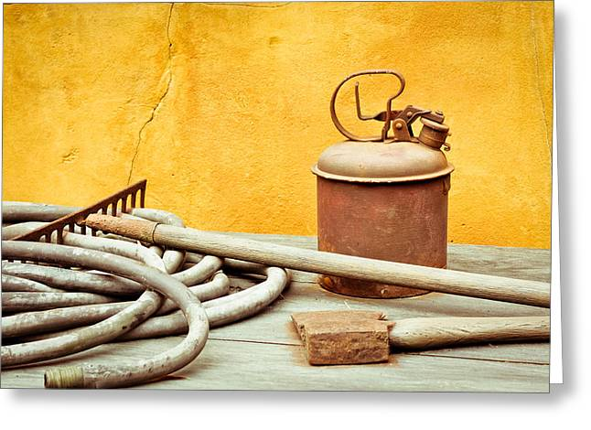 Genuine Greeting Cards - Antique tools Greeting Card by Tom Gowanlock