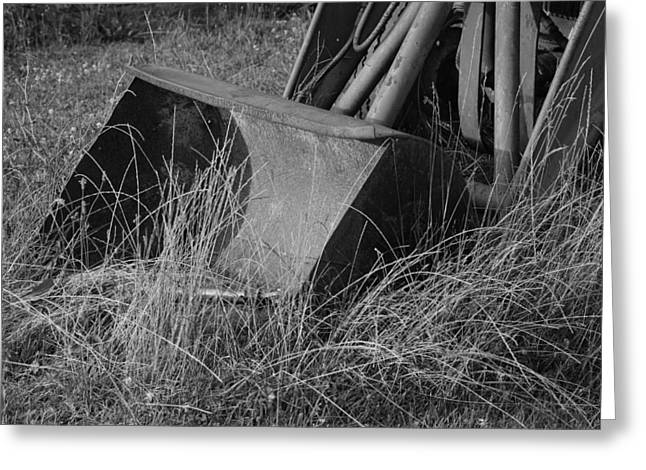 Antique Tractor Bucket in Black and White Greeting Card by Jennifer Lyon