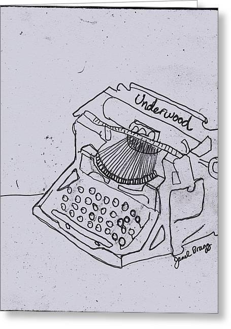 Typewriter Mixed Media Greeting Cards - Antique Typewriter in Newspaper Greeting Card by Janel Bragg