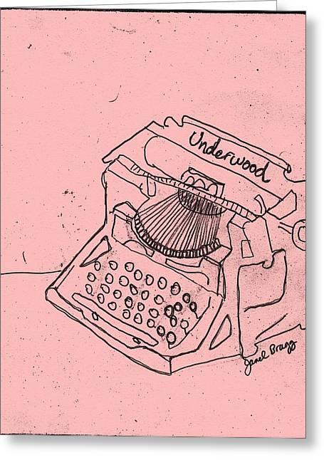 Typewriter Mixed Media Greeting Cards - Antique Typewriter in Pink Greeting Card by Janel Bragg