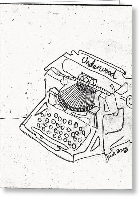 Typewriter Mixed Media Greeting Cards - Antique Typewriter Sketch Greeting Card by Janel Bragg