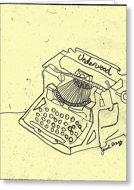 Typewriter Mixed Media Greeting Cards - Antique Typwriter in Yellow Greeting Card by Janel Bragg