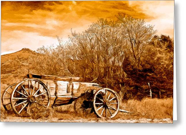 Wooden Wagons Paintings Greeting Cards - Antique Wagon Greeting Card by  Bob and Nadine Johnston