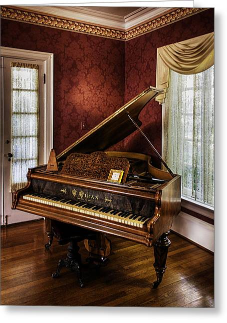Wein Greeting Cards - Antique Wein Grand Piano Greeting Card by Lynn Palmer