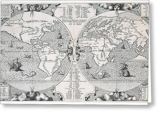 Antique World Map Greeting Card by Benito Arias Montano