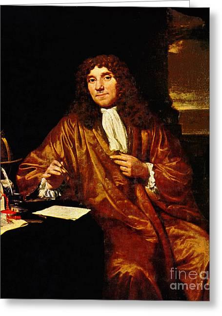 Microbiology Greeting Cards - Anton Van Leeuwenhoek, Dutch Greeting Card by Science Source