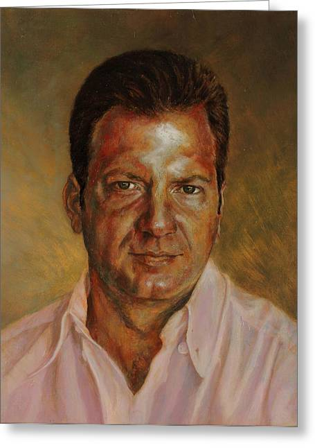 Portraits Oil Greeting Cards - Antonios portrait Greeting Card by Karina Llergo Salto