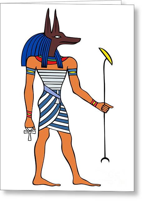 Sacred Drawings Greeting Cards - Anubis Greeting Card by Michal Boubin