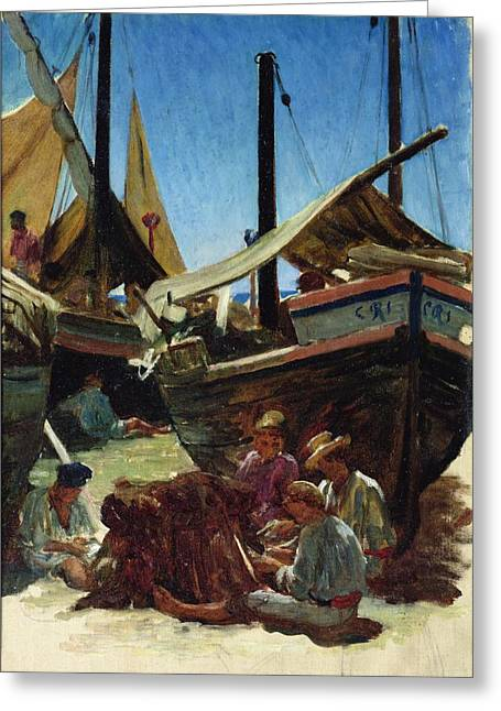 Fishing Hat Greeting Cards - Anzio The Port Greeting Card by Antoine Auguste Ernest Hebert