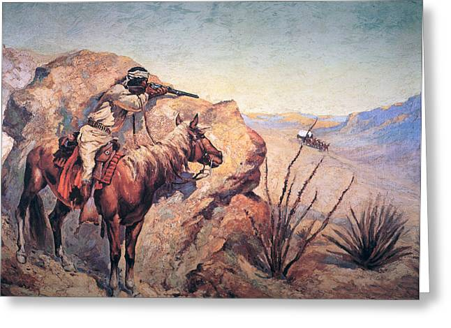Aiming Greeting Cards - Apache Ambush Greeting Card by Frederic Remington