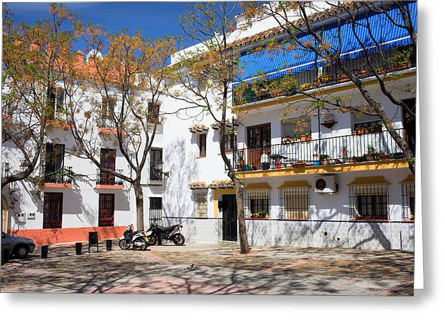 Old Home Place Greeting Cards - Apartment Houses in Marbella Greeting Card by Artur Bogacki
