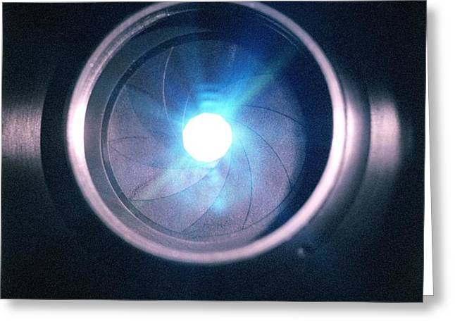 Aperture Flare Greeting Card by Richard Kail