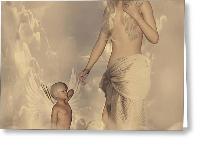 Aphrodite and Eros Greeting Card by Lourry Legarde