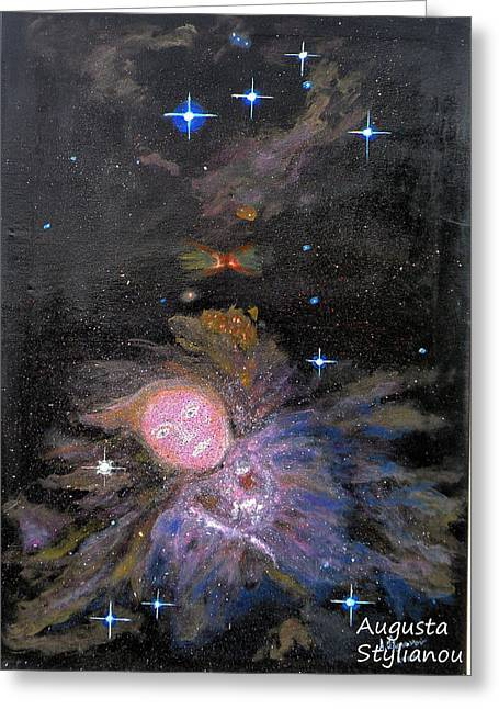 Nebula Paintings Greeting Cards - Aphrodite in Orions Nebula Greeting Card by Augusta Stylianou