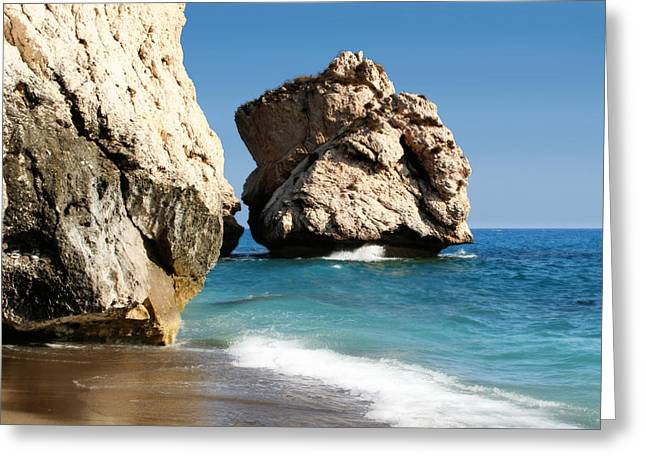 Aphrodite Rock Cyprus Greeting Card by Julie L Hoddinott