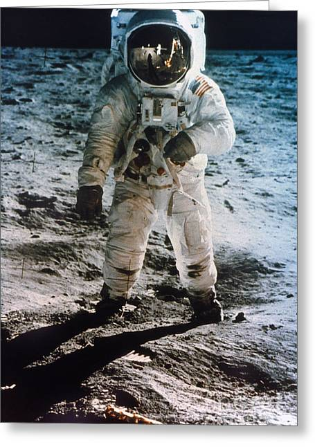 Space Photographs Greeting Cards - Apollo 11: Buzz Aldrin Greeting Card by Granger