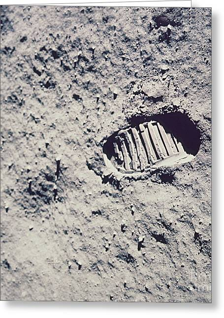 Man On The Moon Greeting Cards - Apollo 11 Footprint Greeting Card by Nasa