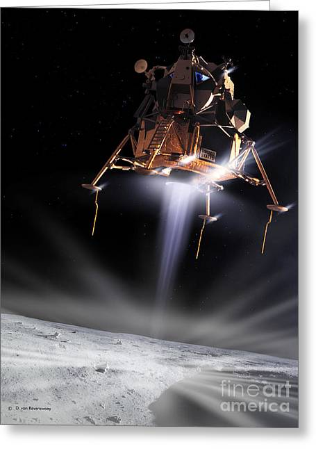 Landing Stage Greeting Cards - Apollo 11 Moon Landing Greeting Card by Detlev Van Ravenswaay and Photo Researchers