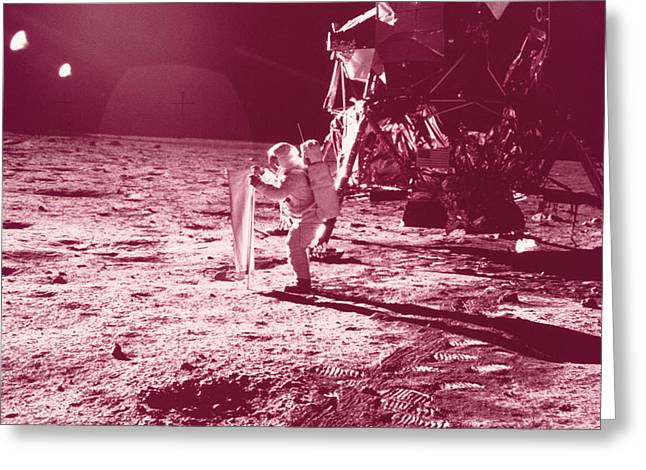Lunar Surface Greeting Cards - Apollo 11 Moon Landing Greeting Card by Science Source