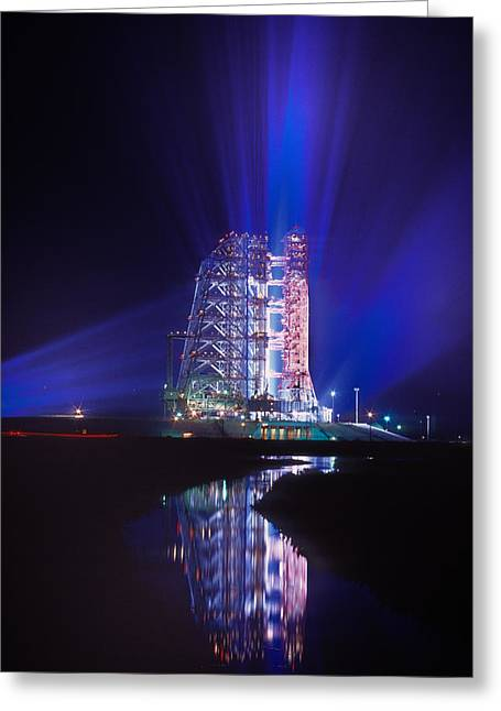 Apollo 11 Sits On Its Launchpad Greeting Card by O. Louis Mazzatenta