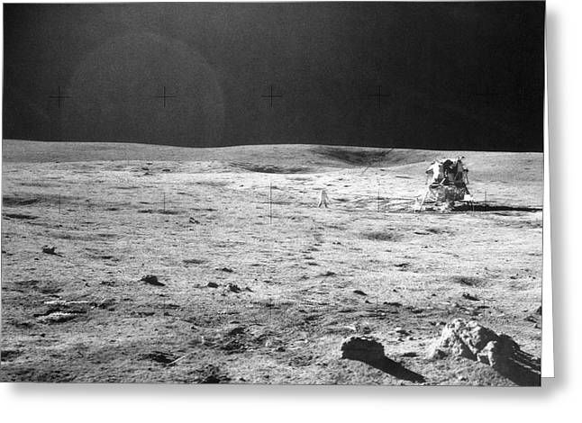Apollo 14 & Shepard On Moon Near Fra Greeting Card by NASA / Science Source