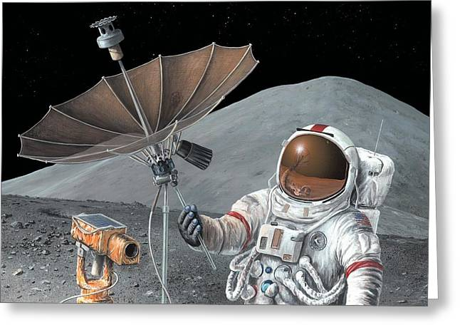 First Man Moon Greeting Cards - Apollo 15 Exploration, Artwork Greeting Card by Richard Bizley