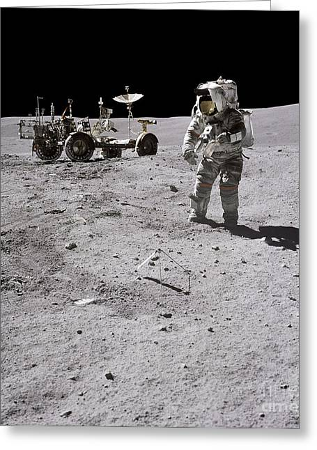 Roving Greeting Cards - Apollo 16 Astronaut Collects Samples Greeting Card by Stocktrek Images