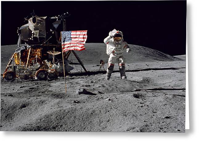 Roving Greeting Cards - Apollo 16 Astronaut Leaps Greeting Card by Stocktrek Images