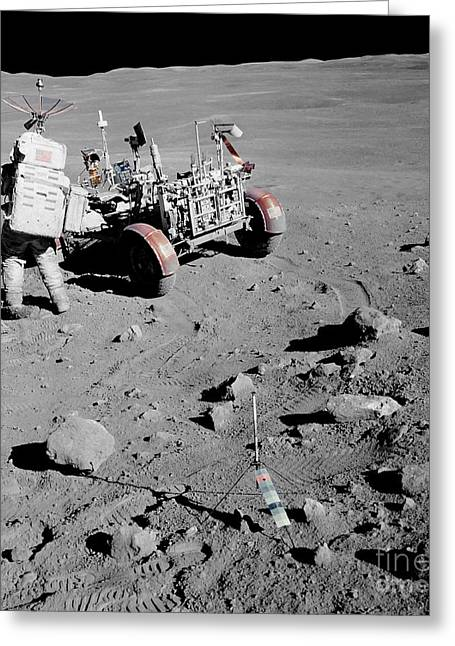 Roving Greeting Cards - Apollo 16 Astronaut Stands Greeting Card by Stocktrek Images