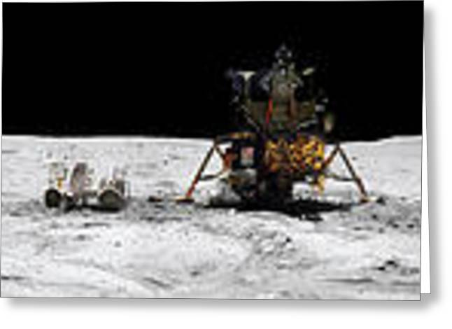 Roving Greeting Cards - Apollo 16 Landing Site In The Lunar Greeting Card by Stocktrek Images