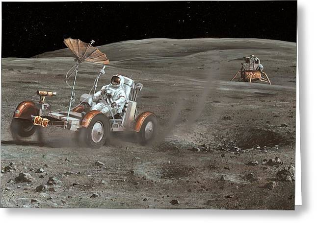 24th Greeting Cards - Apollo 16 Lunar Rover, Artwork Greeting Card by Richard Bizley