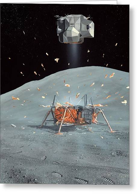 Apollo 17 Ascent Stage, Artwork Greeting Card by Richard Bizley