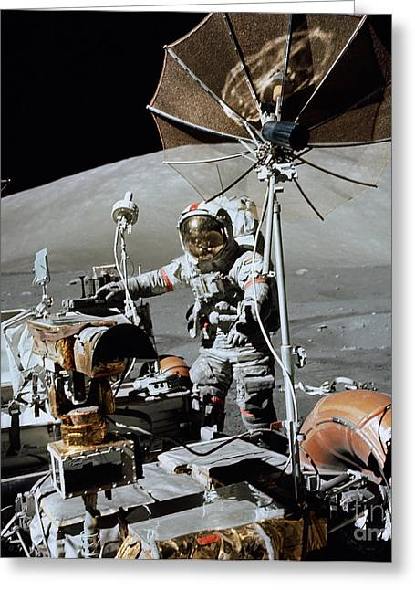 Roving Greeting Cards - Apollo 17 Astronaut Approaches Greeting Card by Stocktrek Images