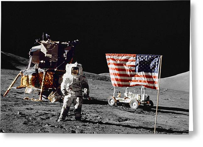 Roving Greeting Cards - Apollo 17 Astronaut Stands Greeting Card by Stocktrek Images