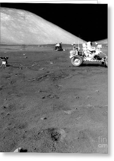 Roving Greeting Cards - Apollo 17 Image Of Land Rover On Moon Greeting Card by Stocktrek Images