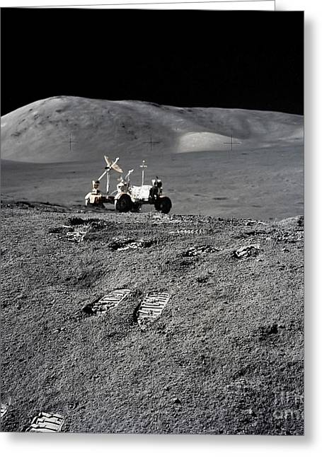 Roving Greeting Cards - Apollo 17 Lunar Image With Rover Greeting Card by Stocktrek Images