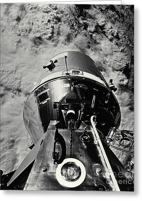 Apollo Program Greeting Cards - Apollo 9 Docked Command Module Greeting Card by NASA / Science Source
